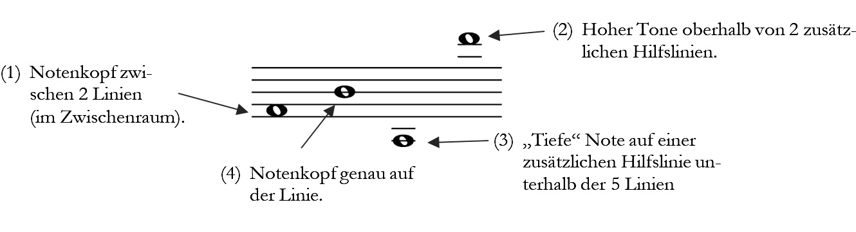 Anordnung der Noten im Notensystem