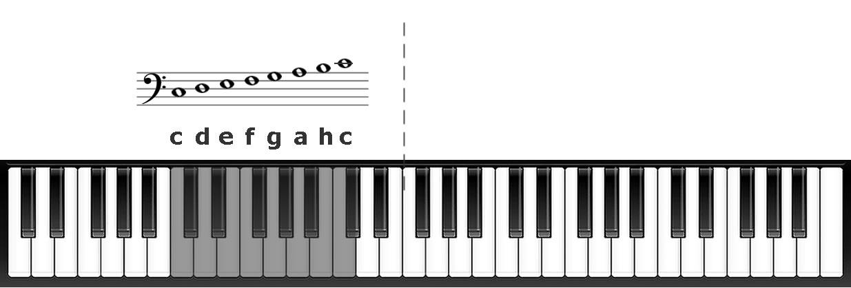 Wichtige Noten im Bassschlüssel